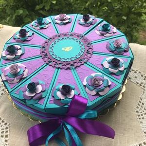 Nászajándék átadó torta,  türkiz-levendula, Esküvő, Emlék & Ajándék, Nászajándék, Papírművészet, Meska