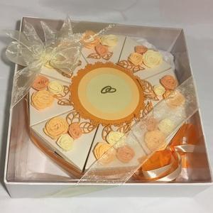 Nászajándék átadó torta díszdobozban , Esküvő, Emlék & Ajándék, Nászajándék, Papírművészet, Nászajándék átadó torta krém gyöngyházkarton alapon, vanília-narancs dekorációval., krepp papír rózs..., Meska