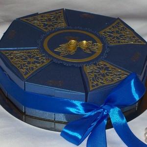 Nászajándék átadó torta - királykék-arany, Esküvő, Emlék & Ajándék, Nászajándék, Papírművészet, Romantikus, elegáns, letisztult királykék-arany összeállítású torta nászajándék átadására, arany csi..., Meska