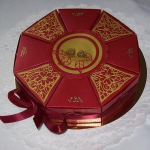 Nászajándék átadó torta - burgundi vörös-arany, Esküvő, Emlék & Ajándék, Nászajándék, Papírművészet, Romantikus, elegáns, letisztult burgundi vörös-arany összeállítású torta nászajándék átadására, aran..., Meska