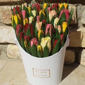 Rózsabimbók boxban, Csokor & Virágdísz, Dekoráció, Otthon & Lakás, Papírművészet, Virágboxaim különlegessége, hogy 100%-ban papírból készülnek, minden egyes virágot kézzel, a legjobb..., Meska