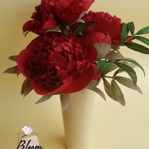 Élethű bazsarózsa papírvirág csokor, Otthon & Lakás, Dekoráció, Csokor & Virágdísz, Papírművészet, Virágkötés, Élethű bazsarózsa papírvirág csokor. Prémium minőségű speciális virágkreppből, kézzel készült. Minde..., Meska