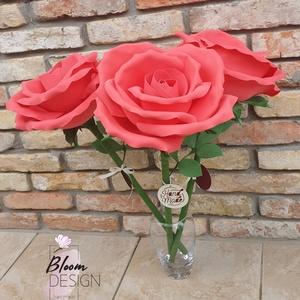 Élethű óriás örökrózsa, Otthon & Lakás, Dekoráció, Csokor & Virágdísz, Mindenmás, Óriás rózsáim minőségi foamiran alapanyagból kézzel készülnek. A virágfej és a levelek vízállóak, sz..., Meska