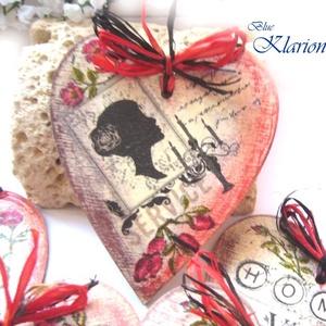 Vintage szívek, ajándék, ajtódísz, dekoráció (blueklarion) - Meska.hu