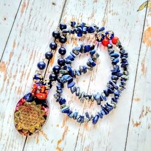 ORGONIT harmónia lapis lazuli, amazonit. rodonit, howlit, korall ásványgyöngy nyaklánc, Ékszer, Táska, Divat & Szépség, Nyaklánc, Medál, Harmónia, élet, növekedés virág mandala nyaklánc lapis lazuli, amazonit. rodonit, howlit, korall ásv..., Meska