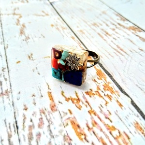 ORGONIT védelmező achát, ametiszt, azurit, korall, lapis lazuli, türkiz ásvány gyűrű, Ékszer, Gyűrű, Medál, Orgonit védelmező achát golyóból, ametiszt, azurit, ásvány kockákból, lapisz lazuli ásvány lapból, s..., Meska