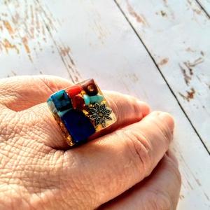 Orgonit védelmező achát, ametiszt, azurit, korall, lapis lazulitürkiz ásvány gyűrű (blueklarion) - Meska.hu
