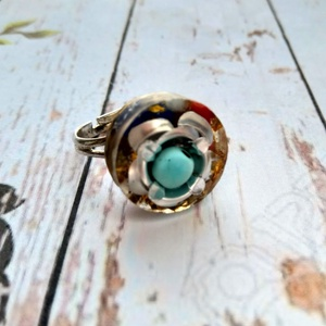 Orgonit védelmező ametiszt, azurit, amazonit, korall, türkiz ásvány gyűrű (blueklarion) - Meska.hu