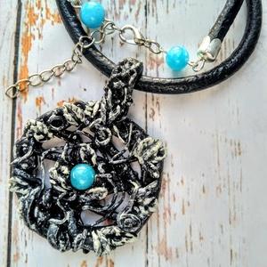 Indák medál larimár ásvány gyönggyel vastag valódi bőr nyakláncon (blueklarion) - Meska.hu