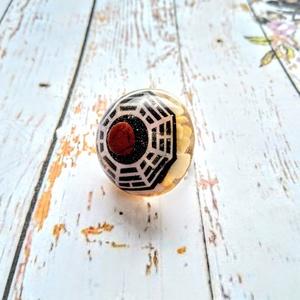ORGONIT védelmező, méregtelenítő rózsakvarc és akaraterőt adó vörös jáspis gyűrű Dharma kerék szimbólummal, Ékszer, Táska, Divat & Szépség, Egyéb, Gyűrű, ORGONIT védelmező, méregtelenítő rózsakvarc és akaraterőt adó vörös jáspis gyűrű Dharma kerék szimbó..., Meska