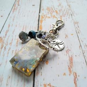 ORGONIT  szodalit, opál, lapis lazuli, hegyikristály gyanta, tűzachát és imperial jáspis ásvány kulcstartó (blueklarion) - Meska.hu