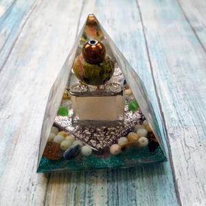 ORGONIT meditációs piramis hematit gömb csúccsal, unakit gyűrűvel, jade és amazonit golyókkal, pietersit  ásványokkal, Ékszer, Táska, Divat & Szépség, Egyéb, Orgonit meditációs szentély piramist készítettem hematit gömb csúccsal, unakit ásvány gyűrűvel, jade..., Meska