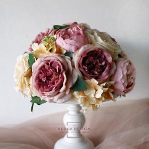 Vintage asztaldísz, örökcsokor, selyemvirág csokor, esküvő dekoráció (bluer) - Meska.hu