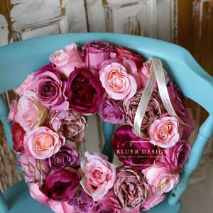 Vintage pasztell selyemvirág kopogtató - virágkoszorú - selyemvirágos ajtódísz (bluer) - Meska.hu