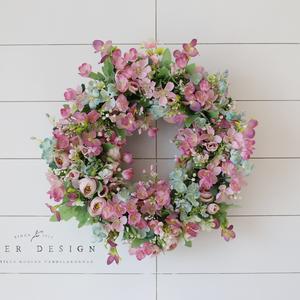 Vintage pasztell tavaszi selyemvirág kopogtató - virágkoszorú - selyemvirágos ajtódísz, Ajtódísz & Kopogtató, Dekoráció, Otthon & Lakás, Virágkötés, Mindenmás, Olyan ajtódíszre vágytam ami a karácsonyi időszakot leszámítva egész évben díszítheti az ajtót, így ..., Meska