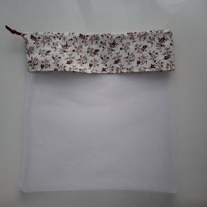 Tüll zacskó-bordó virágos, NoWaste, Bevásárló zsákok, zacskók , Varrás, Tüll zsákocska ami műanyag zacskó kiváltásra, vagy tárolásra is használható. Erős tüll és pamutvászo..., Meska