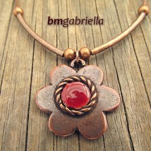 Borvörös alandor - kézműves medál, nyaklánc - virág medál, egyedi tervezésű kézműves ékszer (bmgabriella) - Meska.hu