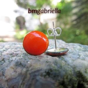 Cseppecske narancs - tűzzománc bedugós fülbevaló - nemesacél, orvosi fém fülbevaló - ékszer - fülbevaló - pötty fülbevaló - Meska.hu