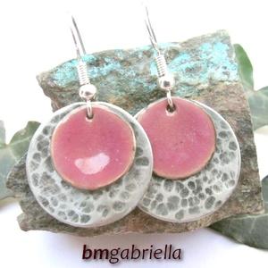 Rózsaszirom  - tűzzománc és alpakka fülbevaló (bmgabriella) - Meska.hu