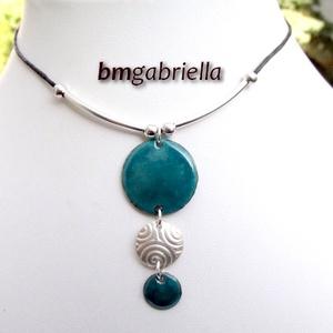 Egeria nyakéke - ezüstözött és tűzzománc nyaklánc, medál (bmgabriella) - Meska.hu