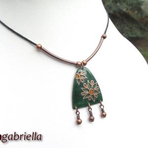 Virágos - tűzzománc medál, nyaklánc (bmgabriella) - Meska.hu