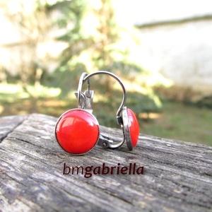 Nemesacél fülbevaló - francia kapcsos tűzzománc fülbevaló - piros - egyedi tervezésű kézműves fülbevaló (bmgabriella) - Meska.hu