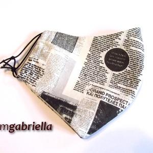 Arcmaszk, szájmaszk, maszk - újságmintás - női, kamasz, felnőtt - textil szájmaszk - mosható szájmaszk (bmgabriella) - Meska.hu