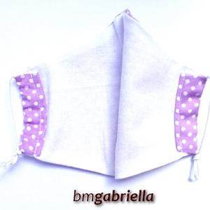 Gyerek arcmaszk, szájmaszk, maszk - lila pöttyös - kislány, lány - textil szájmaszk - mosható szájmaszk (bmgabriella) - Meska.hu