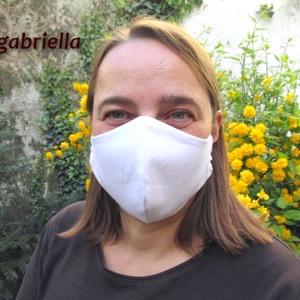 Női, kamasz arcmaszk, szájmaszk, maszk - fehér - textil védőmaszk - mosható szájmaszk - egészségügyi felnőtt maszk, Táska, Divat & Szépség, Szépség(ápolás), Egészségmegőrzés, Maszk, szájmaszk, Varrás, Fehér színű arcmaszk, sötétkék fix gumival.\nAnyaga kétrétegű öko pamut, 40°C-on mosható . Külseje mi..., Meska