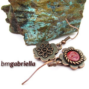 Bordó virág - egyedi tervezésű kézműves ékszerszett - tűzzománc fülbevaló, nyaklánc - ékszer - ékszerszett - Meska.hu
