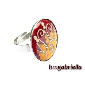 Kelő nap - tűzzománc és nemesacél gyűrű - egyedi tervezésű kézműves gyűrű, Ékszer, Gyűrű, Ékszerkészítés, Tűzzománc, Egyedi tervezésű tűzzománc gyűrű rekeszzománc technikával. Borvörös égen örvénylő, sugaras-indás fel..., Meska