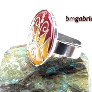 Kelő nap - tűzzománc és nemesacél gyűrű - egyedi tervezésű kézműves gyűrű - ékszer - gyűrű - statement gyűrű - Meska.hu