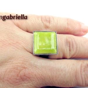 Tűzzománc gyűrű - egyedi tervezésű nemesacél kézműves gyűrű - állítható, modern gyűrű - orvosi fém, Ékszer, Gyűrű, Ékszerkészítés, Tűzzománc, Meska