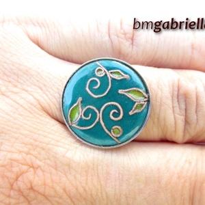 Májusi kertben - tűzzománc és nemesacél gyűrű - egyedi tervezésű kézműves ékszer , Ékszer, Statement gyűrű, Gyűrű, Ötvös, Tűzzománc, Meska