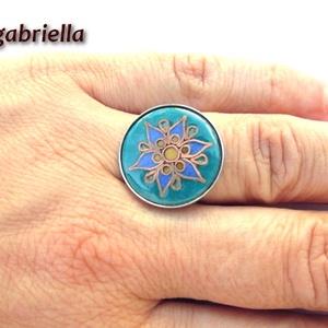 Hatszorszép - tűzzománc és nemesacél gyűrű - egyedi kézműves ékszer - tulipán gyűrű, Ékszer, Statement gyűrű, Gyűrű, Ötvös, Tűzzománc, Meska