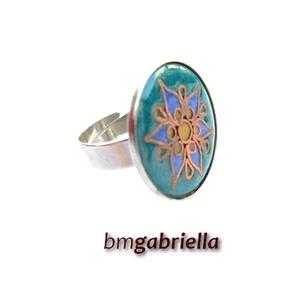 Hatszorszép - tűzzománc és nemesacél gyűrű - egyedi kézműves ékszer - tulipán gyűrű - ékszer - gyűrű - statement gyűrű - Meska.hu