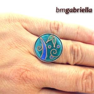 Álom - tűzzománc és nemesacél gyűrű - egyedi tervezésű kézműves ékszer , Ékszer, Statement gyűrű, Gyűrű, Ötvös, Tűzzománc, Meska