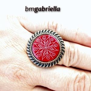 Tűzzománc gyűrű - egyedi tervezésű kézműves gyűrű - bővíthető, modern gyűrű, Ékszer, Statement gyűrű, Gyűrű, Ékszerkészítés, Tűzzománc, Meska