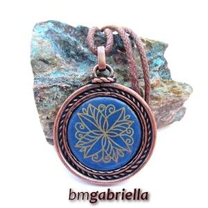 Kék virágos - tűzzománc medál,nyaklánc - egyedi tervezésű kézműves ékszer, Ékszer, Medálos nyaklánc, Nyaklánc, Ékszerkészítés, Tűzzománc, Meska