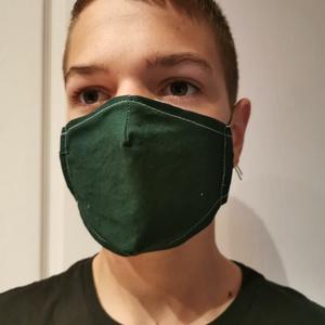 Mosható maszk sötétzöld, Egyéb, Varrás, Mosható, vasalható, 2 rétegű pamutvászon szájmaszk. Állítható gumival. Átvehető Vecsésen vagy Budape..., Meska
