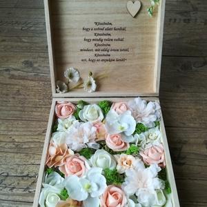 Szülőköszöntő doboz egyedi felirattal , Szülőköszöntő ajándék, Emlék & Ajándék, Esküvő, Decoupage, transzfer és szalvétatechnika, Virágkötés, Szülőköszöntő doboz, mely esküvő alkalmával kerül átadásra, de köszönetajándékként más alkalomra is ..., Meska