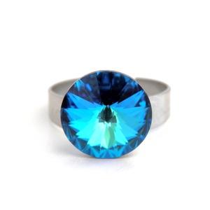 Swarovski rivolis kék gyűrű - Meska.hu