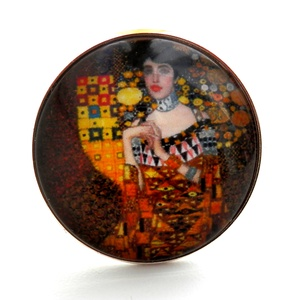Klimt - Adele Bloch-Bauer portréja üveglencsés gyűrű, Ékszer, Gyűrű, Üveglencsés gyűrű, Ékszerkészítés, Egyik kedvenc festőm Klimt (a másik Dali), tőle Adele Bloch-Bauer portréja c. festmény reprodukciója..., Meska