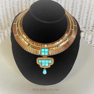 KIA nyakék (egyiptomi), Ékszer, Nyaklánc, Esküvő, Esküvői ékszer, Ékszerkészítés, Gyöngyfűzés, gyöngyhímzés, Kia, ókori egyiptomi királyné a XVIII. dinasztia idején, Ehnaton  fáraó mellékfelesége.\nA bronz, ara..., Meska