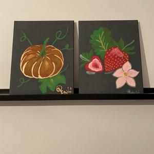 Gyümölcsök, Művészet, Festmény, Akril, Festészet, Nyár és eper, ősz és tök. \nA festett képem 2 db 24 cm széles és 30 cm magas képből áll, melyek egy k..., Meska