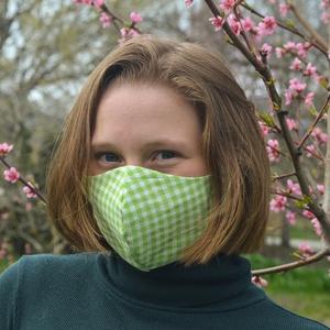 Szűrőbetétes szájmaszk, NŐI méret, arcmaszk, maszk, zöld fehér mintával, NoWaste, Táska, Divat & Szépség, Textilek, Kendő, Szépség(ápolás), Egészségmegőrzés, Arcmaszk, szájmaszk, Varrás, Az általam készített arcmaszk különlegessége, hogy a szabásmintának, illetve egy speciális fém orrn..., Meska
