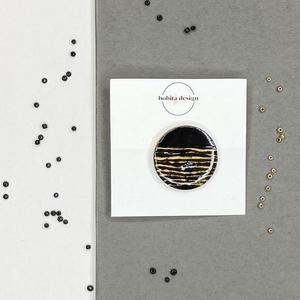 Night shadow kitűző No2, Ékszer, Kitűző és Bross, Kitűző, A Night Shadow kollekció a mindig elegáns fekete és arany pároson alapszik. Ez a két klasszikus szín..., Meska