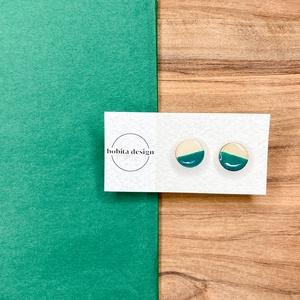 Natur pastell fülbevaló - zöld, Ékszer, Fülbevaló, Pötty fülbevaló, A Natur Pastell kollekció lényege az egyszerű fa textúra pasztell színekkel kombinálva az egyszerűsé..., Meska