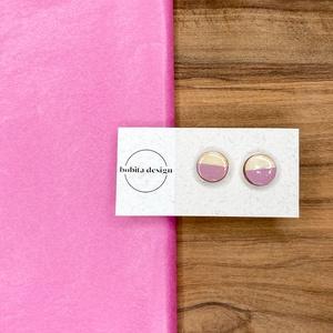 Natur pastell fülbevaló - rózsaszín, Ékszer, Fülbevaló, Pötty fülbevaló, A Natur Pastell kollekció lényege az egyszerű fa textúra pasztell színekkel kombinálva az egyszerűsé..., Meska