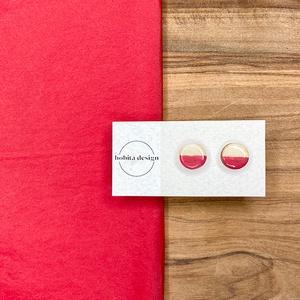 Natur pastell fülbevaló - piros, Ékszer, Fülbevaló, Pötty fülbevaló, A Natur Pastell kollekció lényege az egyszerű fa textúra pasztell színekkel kombinálva az egyszerűsé..., Meska